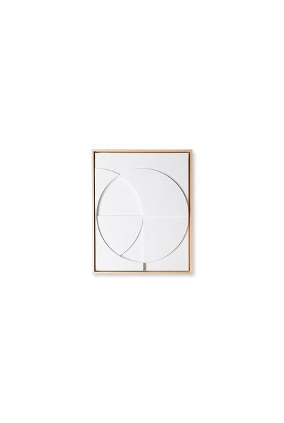 Framed relief art panel white C Small