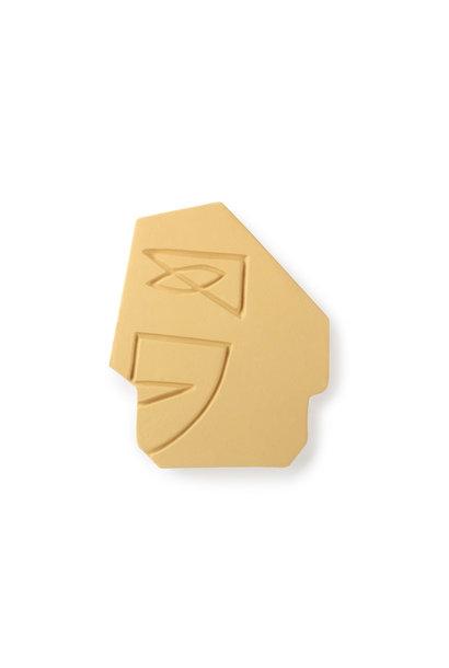 Face wall ornament S Matt mustard yellow