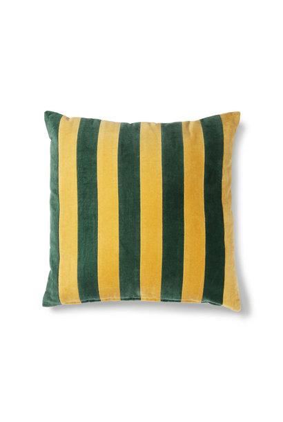 Striped cushion velvet green/mustard (50x50)