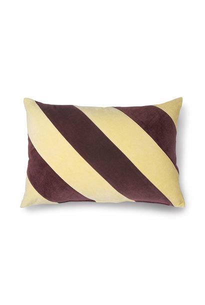 Striped cushion velvet yellow/purple (40x60)