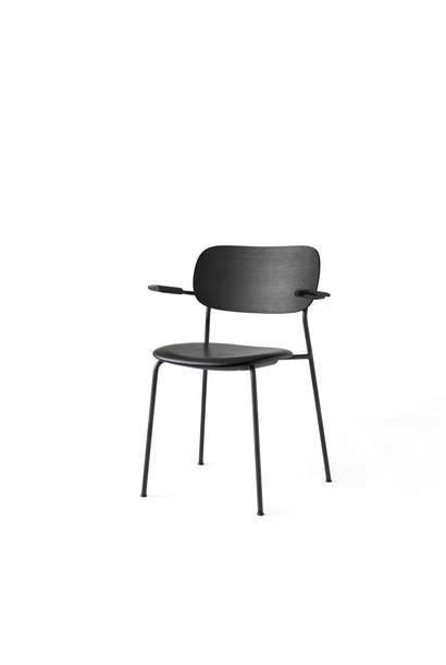 Co Dining Chair armrest - Black powder coated steel - seat upholstery