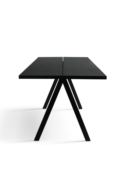 Saw Dining Table 2 Parts Solid Black Ash