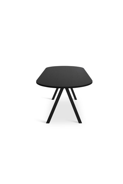 Saw Dining Table Rounded Solid Black Ash 230x90
