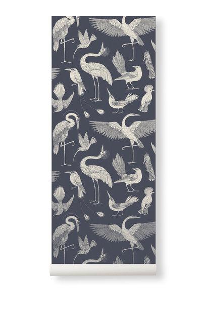 Birds Wallpaper Dark Blue