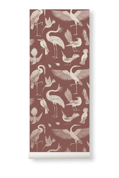 Birds Wallpaper Dusty Red