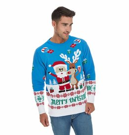 Weihnachtspulli Rudolph und Santa Claus Geschenken