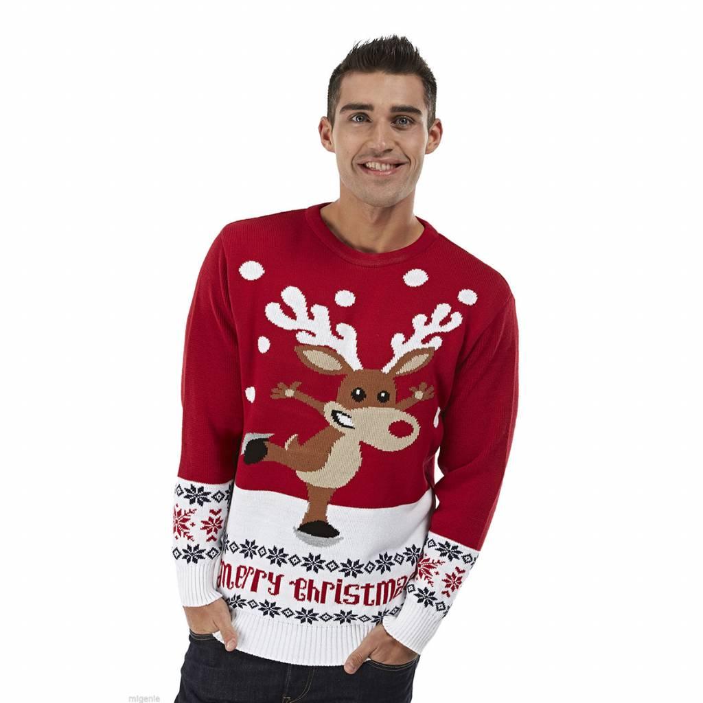 Weihnachtspulli Rudolph on Ice Rot Herren