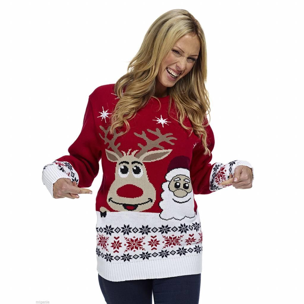Weihnachtspulli Rudolph und Santa Rot Damen