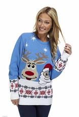 Weihnachtspulli Rudolph und Santa Blau Damen