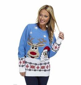 Weihnachtspulli Rudolph und Santa Blau