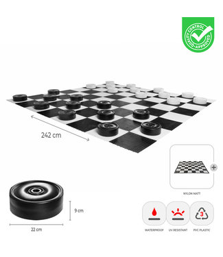 Ubergames XL Damspel - met mat 242x242 cm - 25 cm stenen - UV
