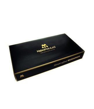 Manopoulos Amerikaans Eiken Walnoot Backgammonspel - Luxe - 48x26cm Pearl Stenen - Rode accenten