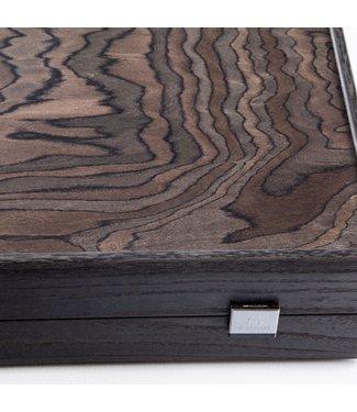 Manopoulos Ebony Burl Hyperluxe Backgammon spel - 48x30 cm