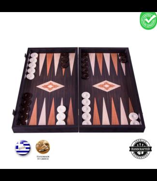 Manopoulos Wenge houtprint Backgammon set - Luxe - 20x12 cm
