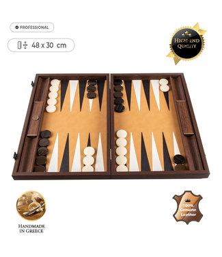 Manopoulos Lederen Backgammon Ostrich Tote - 48x30 cm - in Bruin leder met Ivoor