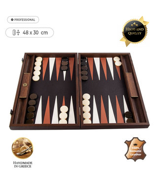 Manopoulos Lederen Backgammon Crocodile Tote - 48x30 cm - Donker Bruin met Taba & Ivoor