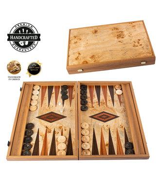 Manopoulos Lupo Burl Backgammon set - Luxe - 48x30cm - Superluxe