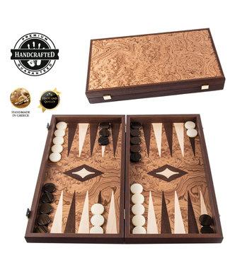 Manopoulos Walnoot Backgammon set - Luxe - 30x17cm - Superluxe