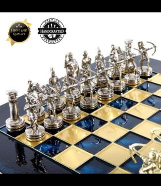 UBER Grieks Schaakspel - Metaal Thematisch - Zilver Goud met Blauw Bord