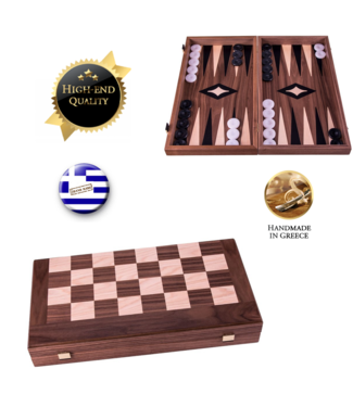 Manopoulos 3-in-1 Notenhouten Schaak Backgammon spel - 30x17