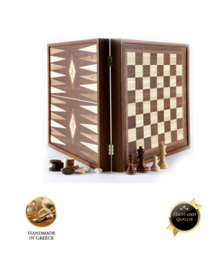 Manopoulos Classic Style 2-in-1 combo Schaken Backgammon 27x27 cm