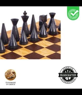 Manopoulos Olive Burl- Schaakspel 40x40 cm - Modern Style Koning 7.6cm - Black/Ivory