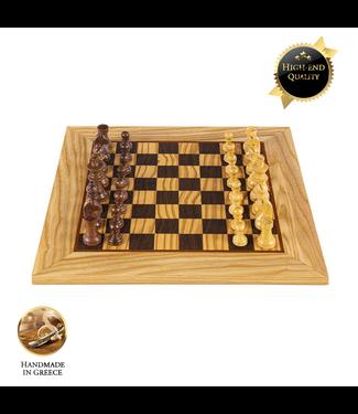 Manopoulos Olive Burl - Schaakspel 40x40 cm - Staunton Koning 8.5cm