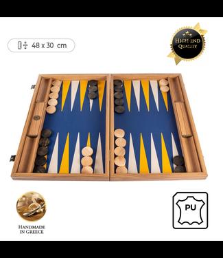 Manopoulos Leatherette Royal Blue Backgammon spel - 48x30cm - met Canary Geel & Ivoor