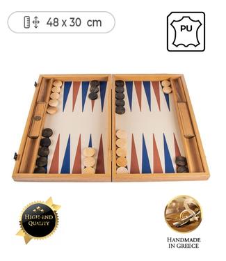 Manopoulos Leatherette Champagne Beige Backgammon spel - met Blauw Bruin - 48x30cm