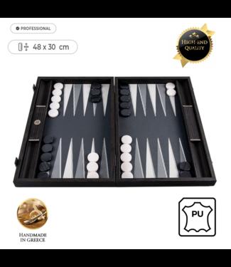 Manopoulos Leatherette Silver Grid Backgammon - 48x30 cm - met Rubber Grip