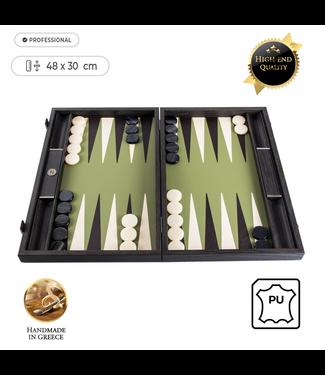 Manopoulos Leatherette Olijfgroen Backgammon - 48x30 cm - met Zwart & Ivoor