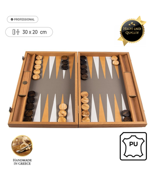 Manopoulos Leatherette Ostrich Tote Backgammon spel - 30x20cm - met Geel/Bruin & Dusty Ivoor