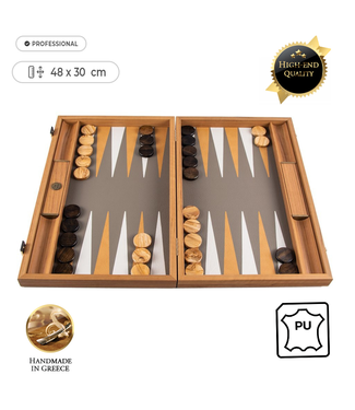 Manopoulos Leatherette Ostrich Tote Backgammon spel - 48x30cm - met Geel/Bruin & Dasty Ivoor