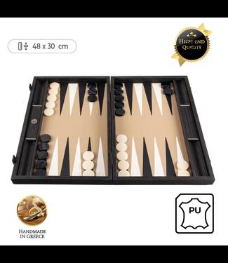 Manopoulos Leatherette Mocha Backgammon spel - 48x30cm - met Zwart & Ivoor