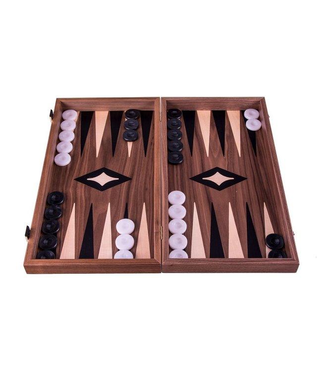 Manopoulos Walnoot combo Schaken - Dammen - Backgammon set - 38x20 cm - Luxe