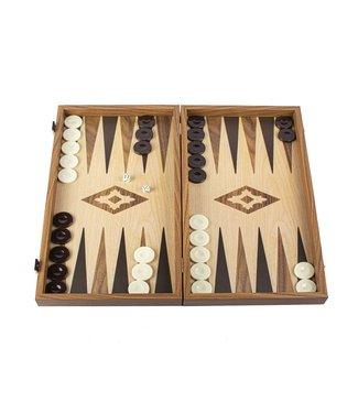 Manopoulos Eik en Walnoot houtprint Backgammon set - Luxe - 20x12 cm
