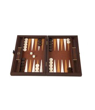 Manopoulos Leatherette Braided Straw Backgammon spel - in donker Bruin - 20x30cm