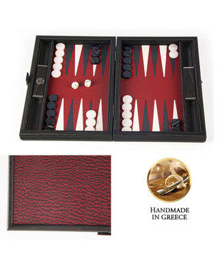 Manopoulos Leatherette Burgundy Red Pink Backgammon - 30x20cm - Dark Grey & Ice White