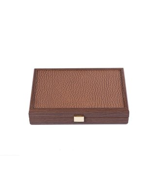 Manopoulos Domino Spel 24x17 cm - Leatherette Caramel Hout - Ultra Luxe