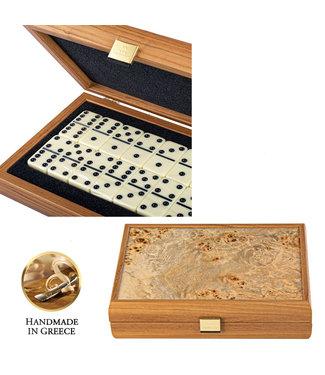 Manopoulos Domino set - ultra luxe - Olijfboom houten design Kist - Handmade - 24x17 cm