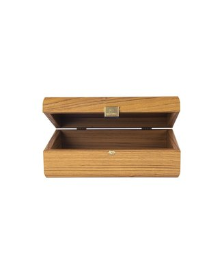 Manopoulos Walnoot houten kist met Leatherette Bruin deksel