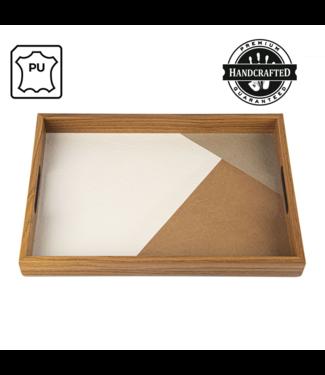 Manopoulos Houten Dienblad - Met Ingelegd Leatherette - 47x32 cm