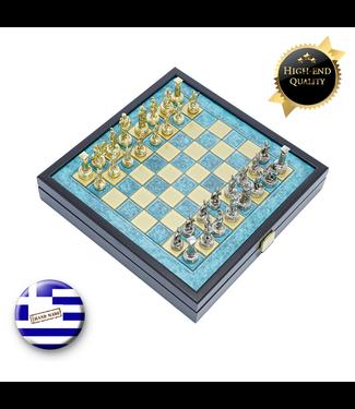 Manopoulos Grieks Romeins Metalen Schaakspel - 27x27 cm