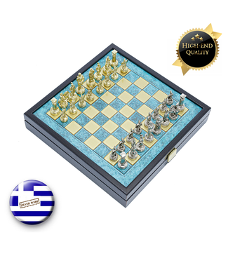 Manopoulos Grieks Romeins Metalen Schaakspel - 41x41 cm