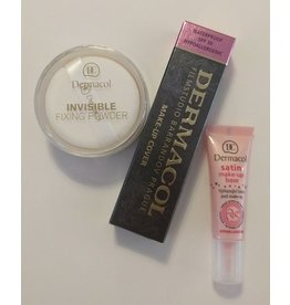 BONUS PAKKET - Dermacol set 213 - Dermacol Make-Up Cover tint 213 - 30 Gram - Satin Make-Up Base - 10ML - Invisible Fixing Powder - Light - 13 Gram