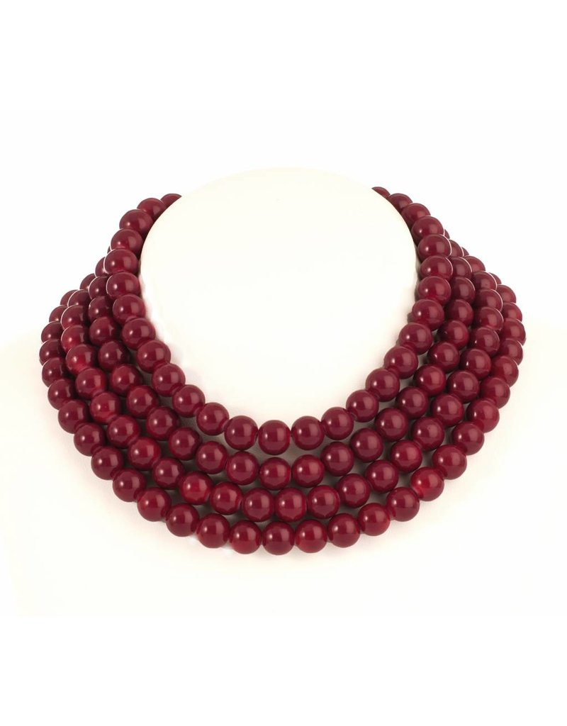 Mme Butterfly Necklaces ceramic pearls burgundy