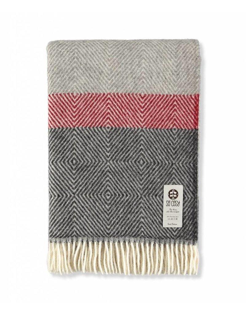 So Cosy Plaid 100% virgin wool Multi Gray / Red