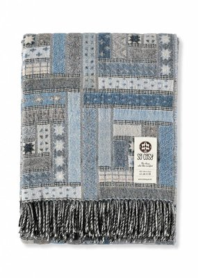 "So Cosy Plaid 100% Merino wol ""Patchwork"" Blauw"
