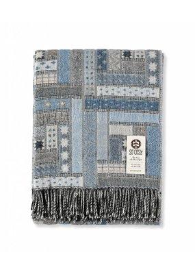 "So Cosy Plaid 100% Merino wool ""Patchwork"" Blue"