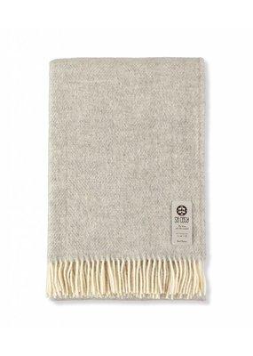 So Cosy Plaid 100% wool Herringbone Silver Gray